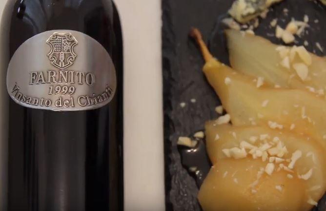 Pere in riduzione di vinsanto con gorgonzola e granella di mandorle #ricetta